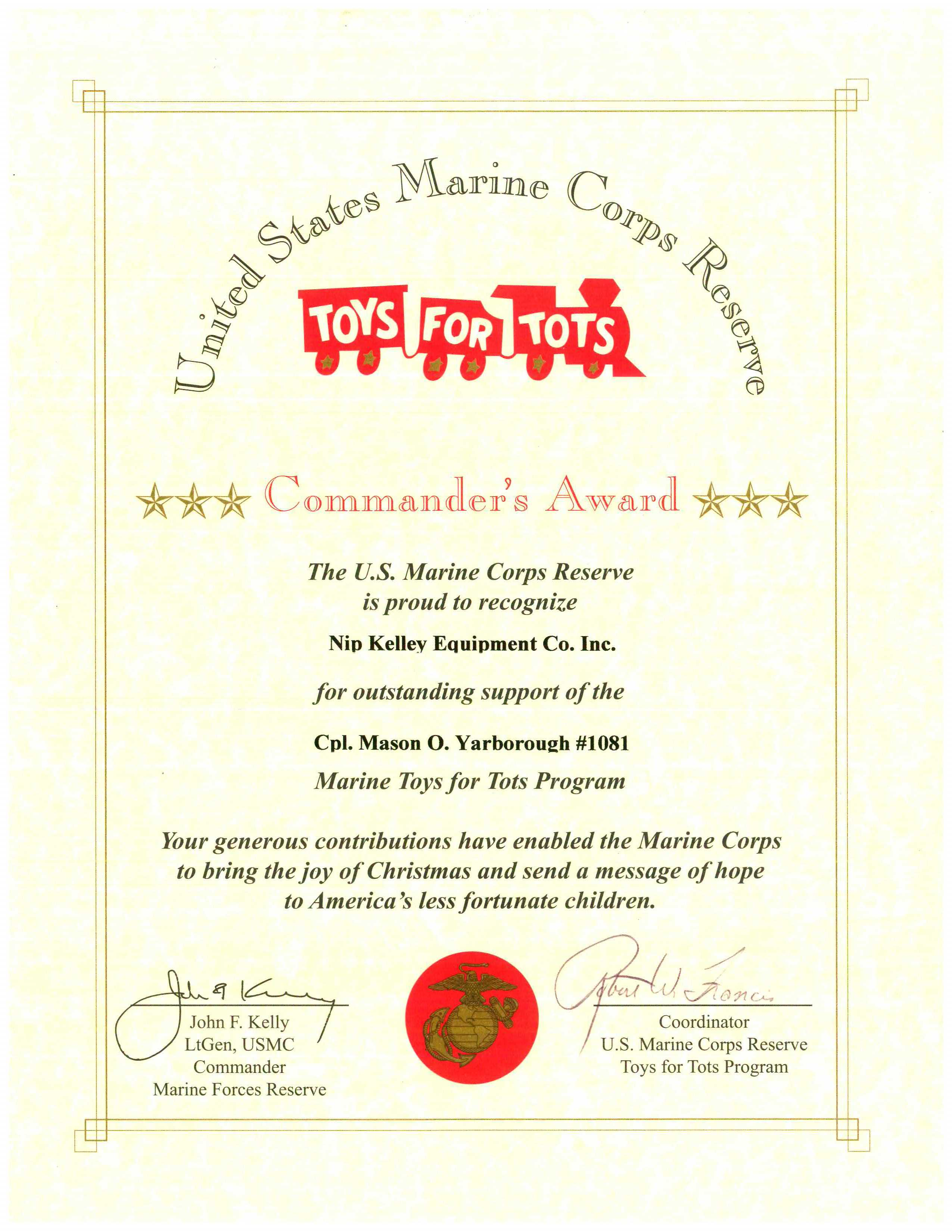 Toys for Tots Award